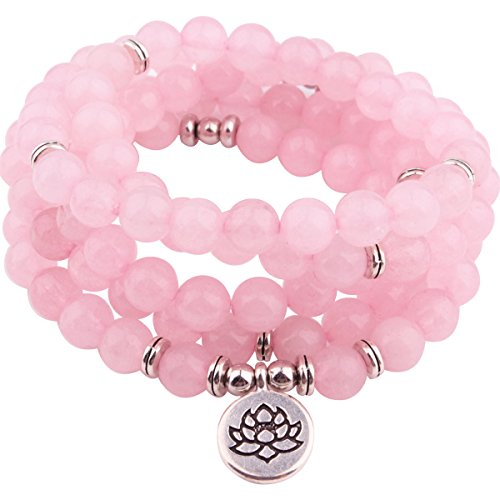 GVUSMIL Mala Pink Powder Crystal 8mm Beads Charm Wrap Bracelets