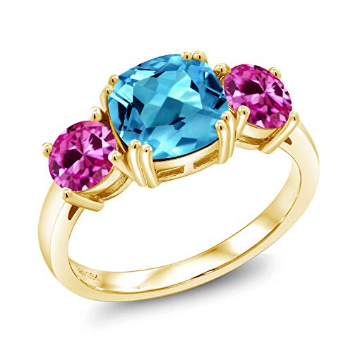 3.70 Ct Swiss Blue Topaz Pink Created Sapphire 18K Yellow Gold Plated Silver Ring (Size 6)