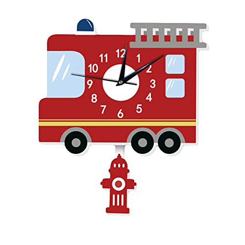 Connoworld Cartoon Fire Truck Wall Clock, Silent Non Ticking for Kid Bedroom Cute Wall Decoration
