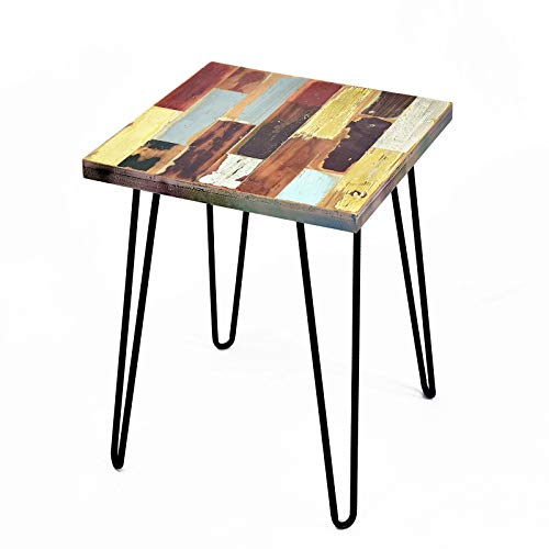WELLAND Side Table Reclaimed Wood, Round Hairpin Leg End Table, Night Stand, Recycled Boat Wood, 20