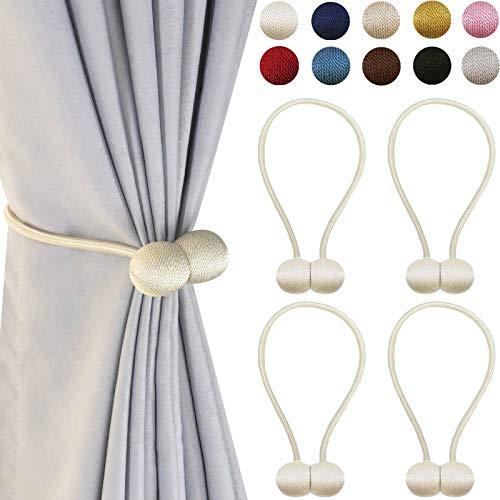 DELISIx Magnetic Curtain Tiebacks Drapery Holdbacks: 16 Inch Decorative Window Treatment Tie Backs Holdback, Set of 4, Beige