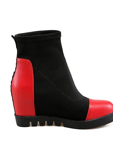 5 4 Uk8 Mujer Tejido Punta Zapatos Xzz Eu34 us4 5 Casual La us10 Botas Cn43 5 Negro Redonda Cuña Uk8 Semicuero De A Moda Vestido Tacón Cn33 Black Rojo 5 Eu42 2 Uk2 Red Cuñas ZqRYY4fn