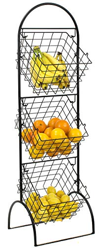 Sorbus 3-Tier Wire Market Basket Storage Stand for Fruit, Vegetables, Toiletries, Household Items, Stylish Tiered Serving Stand Baskets for Kitchen, Bathroom Organization (3 Tier Basket - Black) ()