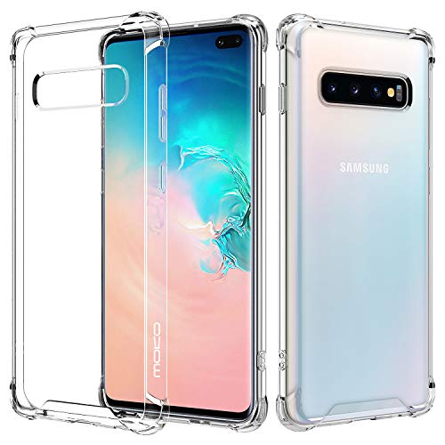 MoKo Compatible with Samsung Galaxy S10 Plus Case, Clear Reinforced Corners TPU Bumper + Anti-Scratch Rugged Transparent Hard Panel Cover Fit with Samsung Galaxy S10+ 6.4 inch 2019 - Crystal Clear