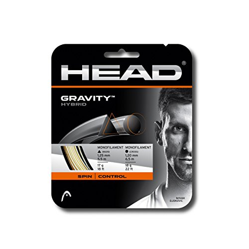 Hybrid Tennis String - HEAD Gravity Tennis String Set, White/Grey