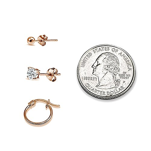 3 Pairs Rose Gold Flash Sterling Silver Unisex 12mm Tiny Small Hoops, 3mm Round Ball Stud & CZ Stud Earrings Set by Hoops 4 Less (Image #1)