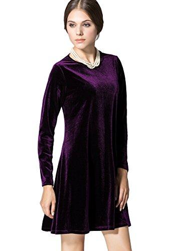Velvet Dress Purple - K&S Women's Gold Velvet Long Sleeve Flare Loose Short Dress (M, 1# Purple)