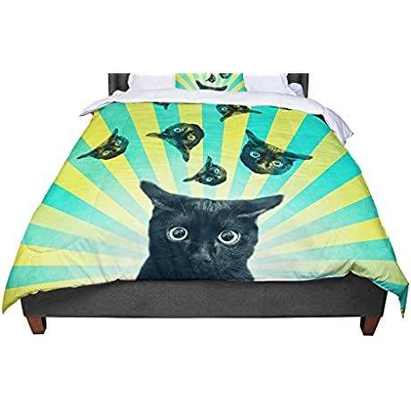 KESS InHouse Cvetelina Todorova Cat Explosion Yellow Green Twin Comforter 68 X 88