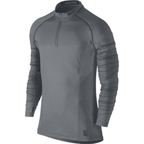 885179865564 - Nike Pro Hyperwarm Dri-Fit Max Fitted 1/4-Zip Mock Top - Men's Cool Grey/Anthracite/Anthracite, L carousel main 0