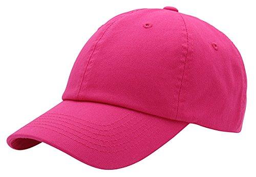 (Top Level Baseball Cap for Men Women - Classic Cotton Dad Hat Plain Cap Low Profile, HPK Hot Pink)