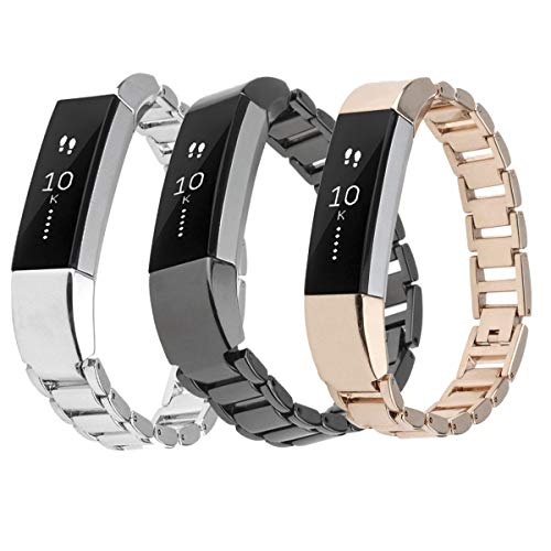Metal Bands for Fitbit Alta, SailFar 3PCS Stainless Steel Replacement Accessory Bracelet Strap Wrist Watch Band Small Large for Fitbit Alta, Men/Women, Silver, Rose Gold,Black