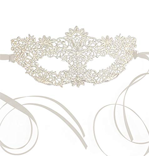 Luxury Women's Lace Masquerade Prom Halloween Carnival Mask Ball (All White) -