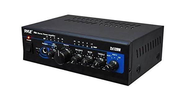 Pyle PTA4 2.0 Hogar Alámbrico Negro - Amplificador de audio (2.0 canales, 120 W, Terminales de abrazadera, RCA, 110-220, 210 mm): Amazon.es: Electrónica