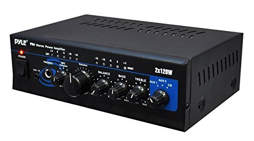 Home Audio Power Amplifier System - 2X120W Mini Dual Channel Mixer Surround Sound Stereo Receiver Box w/ RCA, AUX, Mic Input - For Amplified Speakers, PA, CD Player, Theater - Pyle PTA4