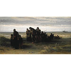 'Jozef Israls Fishermen Carrying A Drowned Man ' Oil Painting, 20 X 38 Inch / 51 X 96 Cm ,printed On Polyster Canvas ,this High Quality Art Decorative Canvas Prints Is Perfectly Suitalbe For Hallway Gallery Art And Home Decor And Gifts