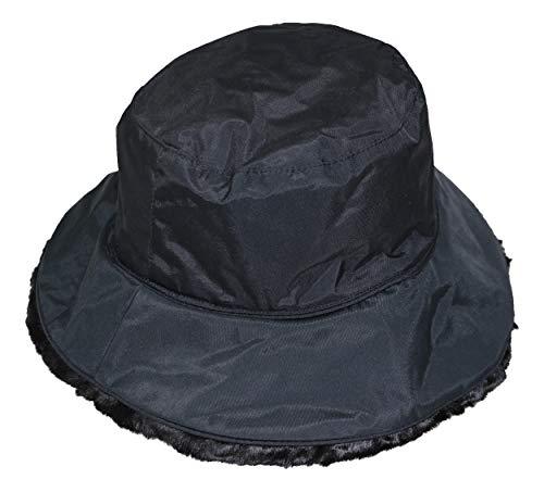 (Nine West Solid Color Reversible Faux Fur Cloche Hat (One Size, Black))