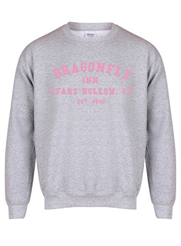 Dragonfly Inn Stars Hollow, CT, Est' 2000 - Grey - Unisex Fit Sweater - Fun Slogan Jumper (Small - Chest 34-36 inches, w/Pink)
