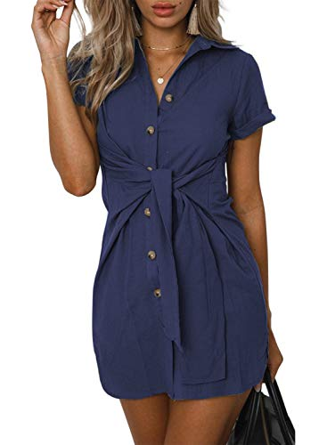 ZESICA Women's Summer Short Sleeve V Neck Button Down Front Tie Casual Short Tunic Dress Navy ()