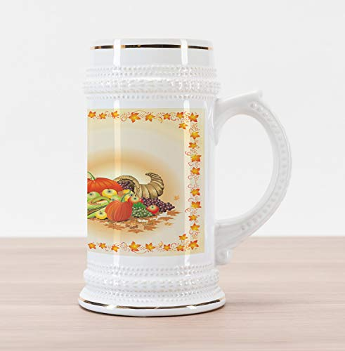 Ambesonne Harvest Beer Stein Mug, Maple Tree Frame with Rustic Composition for Thanksgiving Halloween Dinner Food, Traditional Style Decorative Printed Ceramic Large Beer Mug Stein, Multicolor ()