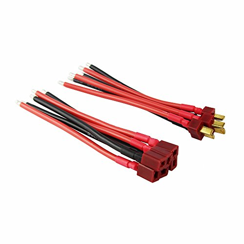 OliYin 3pairs Deans Style T Plug Male Female Connector Silicone Wire with 3.93inch 14awg Battery Connect Cable(Pack of 3) (Connectors Dean)