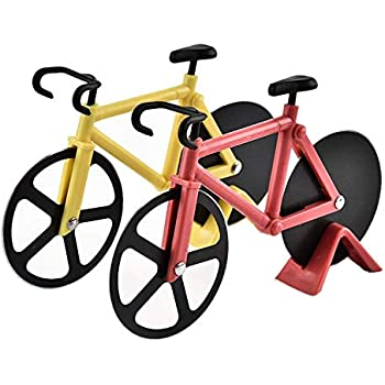 Pack of 2 Stainless Steel Bicycle Pizza Cutters Slicer - Colors may vary