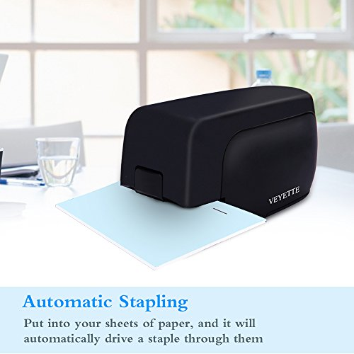 Stapler, Veyette Automatic Electric Stapler for Office School and Home, AC Adaptor Included, Battery Operated, 20 to 25 Sheets Capacity, Use Standard Staples, Black by Veyette (Image #1)