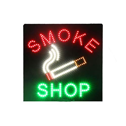 LED Smoke Shop Open Light Display Sign Board Sign for Tobacco Cigar Vaporizer Vapor Vape Smoking Advertising Business Shop Store Window Bedroom Decor 16 x 16 inches]()
