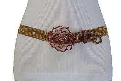 TFJ Women Fashion Rusty Gold Metal Belt Hip Waist Pink Beads Rose Flower Buckle S M