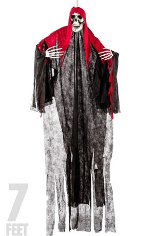 Grim Reaper Props (Halloween Hanging Grim Reaper Skull Bundle 7 Ft Tall with Red Blood-Like Head Covering 23 inch White Grim Reaper and 23 inch Black Grim Reaper)