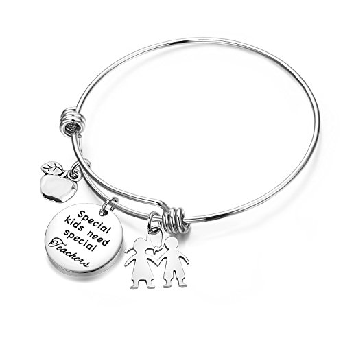 - TGBJE Teacher Gifts Special Kids Need Special Teachers Bracelet Wire Bangle Teacher Appreciation Gift With Apple Charm (Special Teachers bracelet)