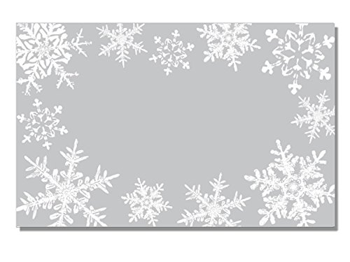 Pack Of 50, Silver Snowflakes Enclosure Card 3-1/2'' x 2-1/4'' Made In USA by Generic