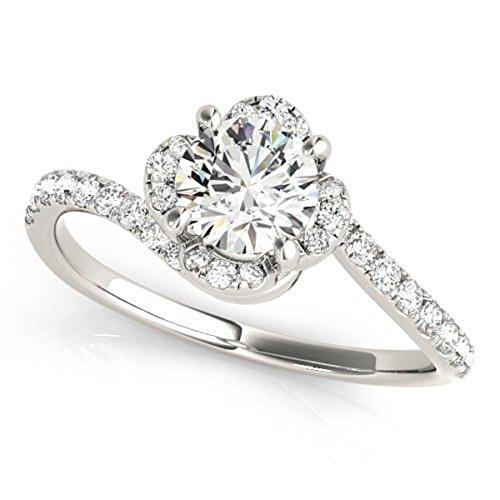 Nice 0.97 ct J-K Moissanite Engagement wedding Ring 925 Sterling Silver by MoissaniteMart