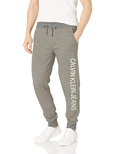 Calvin Klein Men's Monogram Logo Jogger Sweatpants, Medium Charcoal Vertical, Large from Calvin Klein