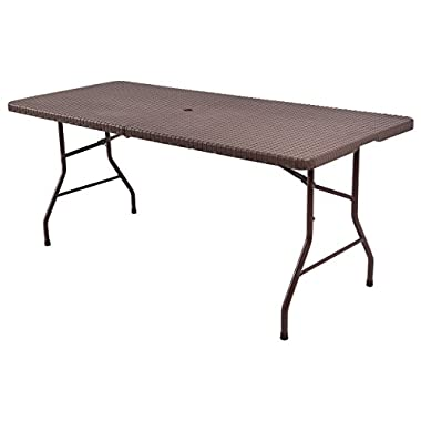 Tangkula 6' Center Folding Table Portable Rattan Design Indoor Outdoor Use With Carrying Handle
