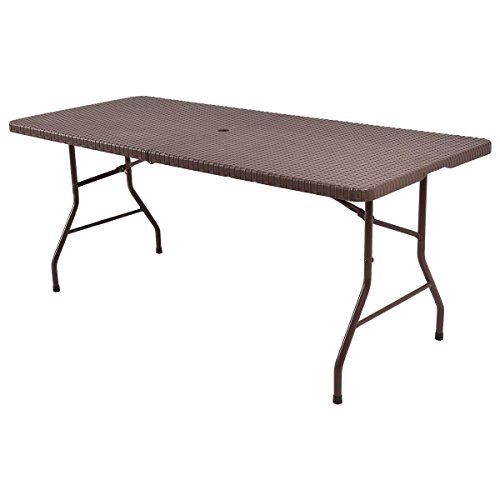 TANGKULA 6' Center Folding Table Portable Rattan Design Indoor Outdoor Use With Carrying Handle by TANGKULA