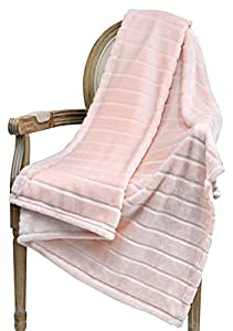 Bertte Ultra Velvet Plush Super Soft Decorative Stripe Throw Queen Size Bed Blanket from Bertte