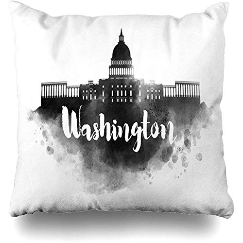 Throw Pillow Cover Dc Painting Watercolor Washington City Skyline Black White America American Artist Brush Zippered Pillowcase Square Size 18 x 18 Inches Home Decor Cushion Case