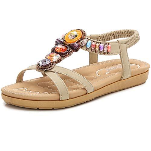 - Womens Bohemian Flat Sandals Sparkle Beaded Ankle Strap Sandals Summer Beach Sandals (8 M US (EUR 39), Khaki)