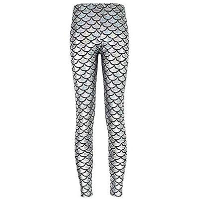 Señoras Sirena Escala De Pescado Elástico Suave Brillo Leggings Color Basic Sólido Cintura Elástica Pantalones Lápiz Pantalones Ropa (Color : Silber, Size : 4XL): Ropa y accesorios