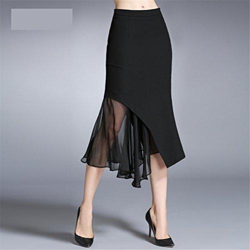 Retro Media Mujer Volantes Oudan Vintage De Bodycon Cintura Falda Larga Alta Negro RqwZtzwv
