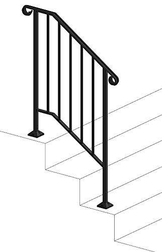 Iron X Handrail Picket #2 (Wood or Composite Steps)