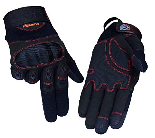 Riparo Tactical Full Finger Fingerless Touchscreen Hard Knuckle Military Shooting Hunting Rubber Hard Knuckle Outdoor Gloves (Large, Black/Red)