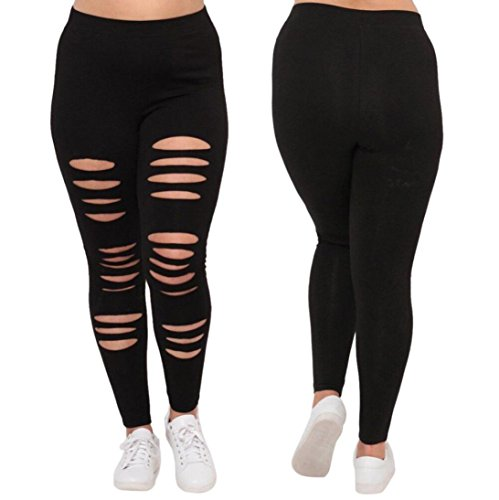 (Ripped Capris, OOEOO Plus Size Womens Sexy Leggings Trousers Yoga Sport Hole Pants (Black, XL))