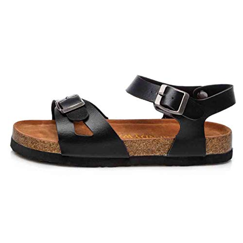 0.375 Sb (New in Respctful✿2019 Women Wedge Flat Sandal Ankle Casual Strap Kitten Heel Faux Leather Vegan Flats-Summer Black)