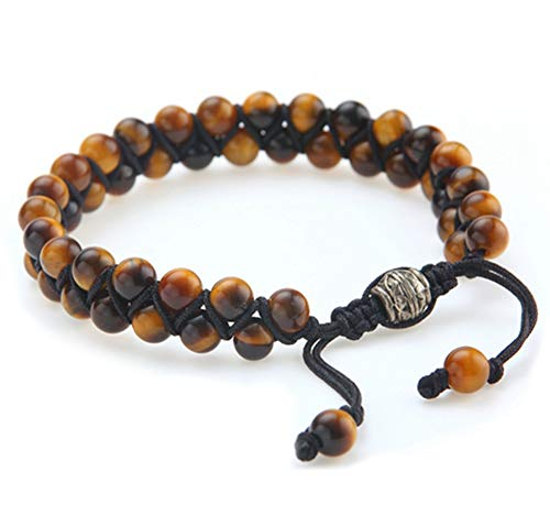 E-Star Designs Tiger Eye Bracelet with Jewelry Gift Bag | Length Adjustable| Precious Natural Stones Crystal Healing Gemstone Men Women Meditation, Gift Set for Women