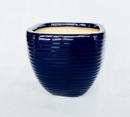 - Ribbed Squared Ceramic Pot (Midnight Blue)