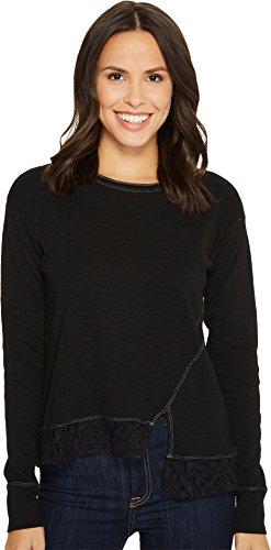 Mod-o-doc Women's Heather Slub Rib Asymmetrical Seamed Sweatshirt with Lace Trim Black Small