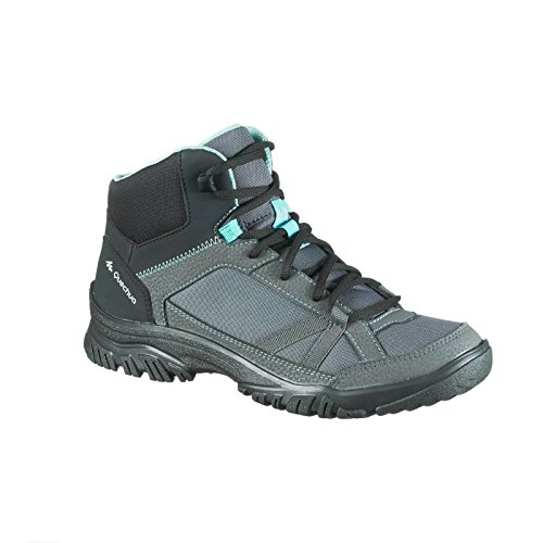Quechua NH 100 Mid Women's Nature Hiking Boots - Grey Blue Boots at amazon