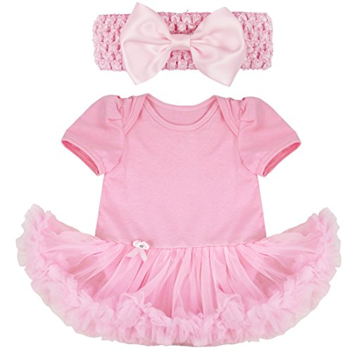 - iiniim Baby Girl's Polka Dot Tutu Romper with Headband Easter Dress up Outfit Set Pink 0-3 Months