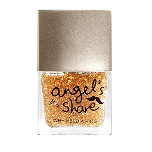 ANGELARIEL 24K Gold Leaf Top Coat, Glitter Gold Flake, Nail Polish Sparkle Every Day, 14 Free Non-Toxic, 0.37 fl oz